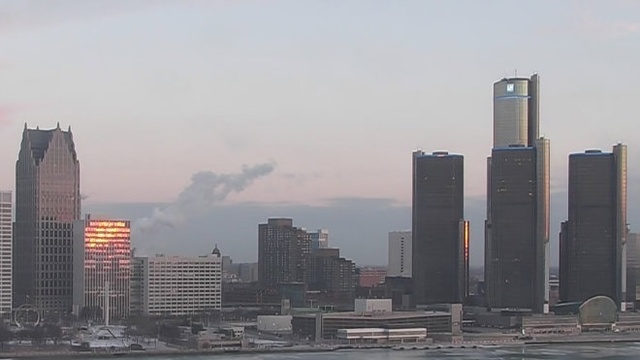 Sunrise Detroit skyline