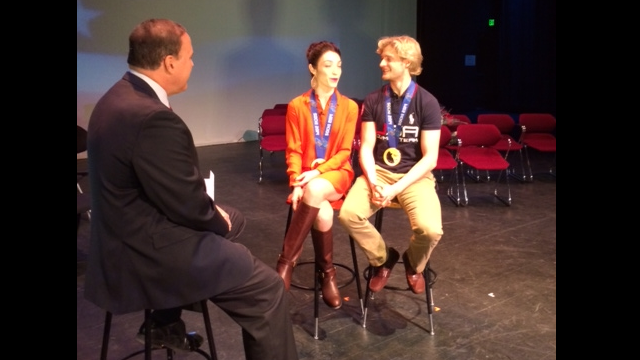 Canton welcomes home gold medal ice dancers Meryl Davis and Charlie White