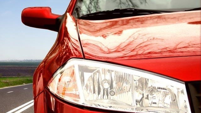 closeup of red sports car