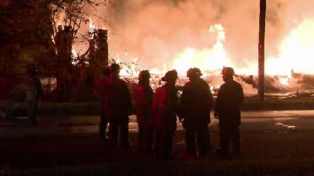 Fire, fire fighters on Detroit's east side at church fire