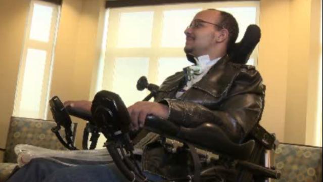 Drew Clayborn in wheelchair