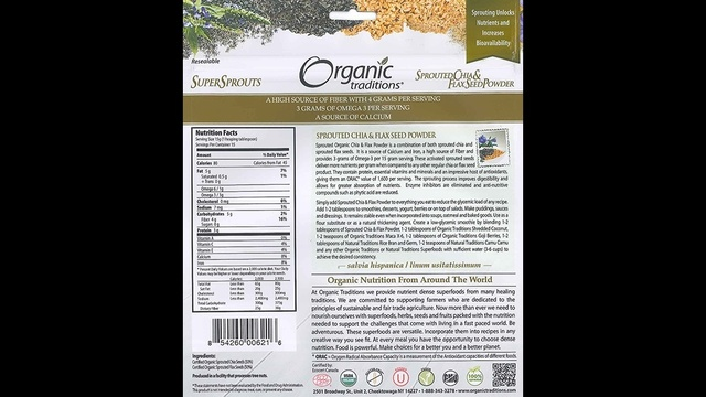 Recalled Chia and flax seed powder label