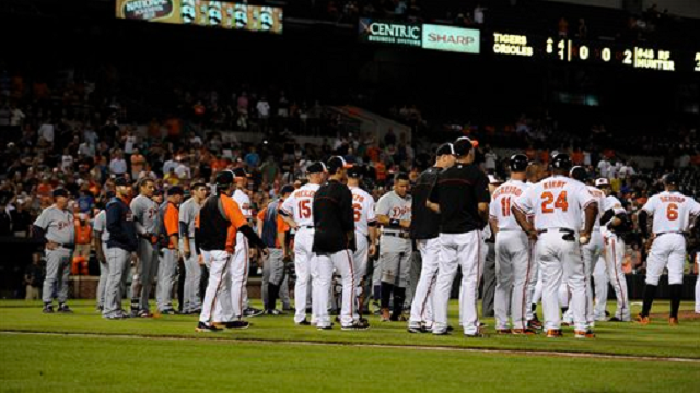Tigers Orioles benches clear May 12