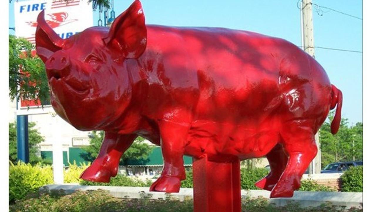 Detroit suburb celebrating return of prominent pig sculpture - Garden city michigan police department ...