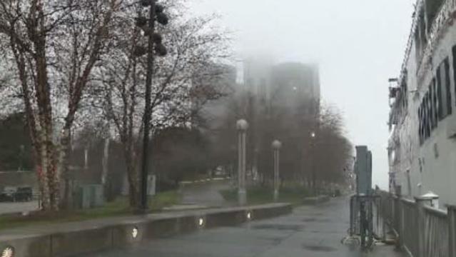 Detroit Renaissance Center fog