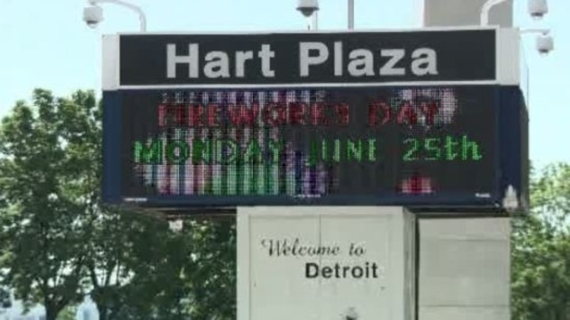 Hart Plaza Detroit fireworks sign_15118322