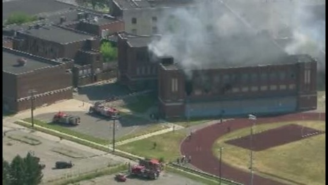 Detroit firefighters were called to the old Redford High School on Detroit's west side Thursday to battle a 2 alarm fire._15189748
