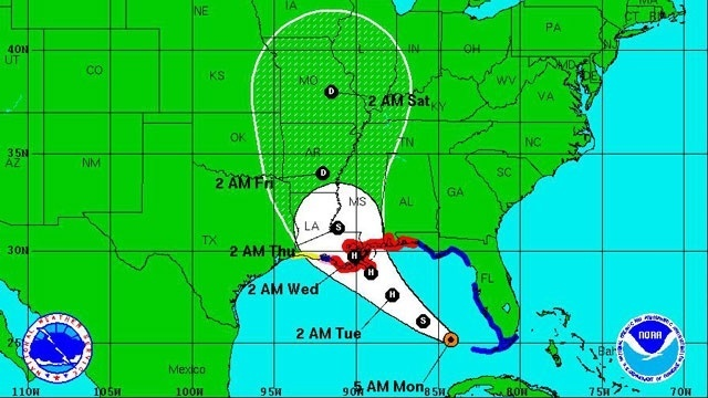TS Isaac, probable path as of 5 am 8-27-12