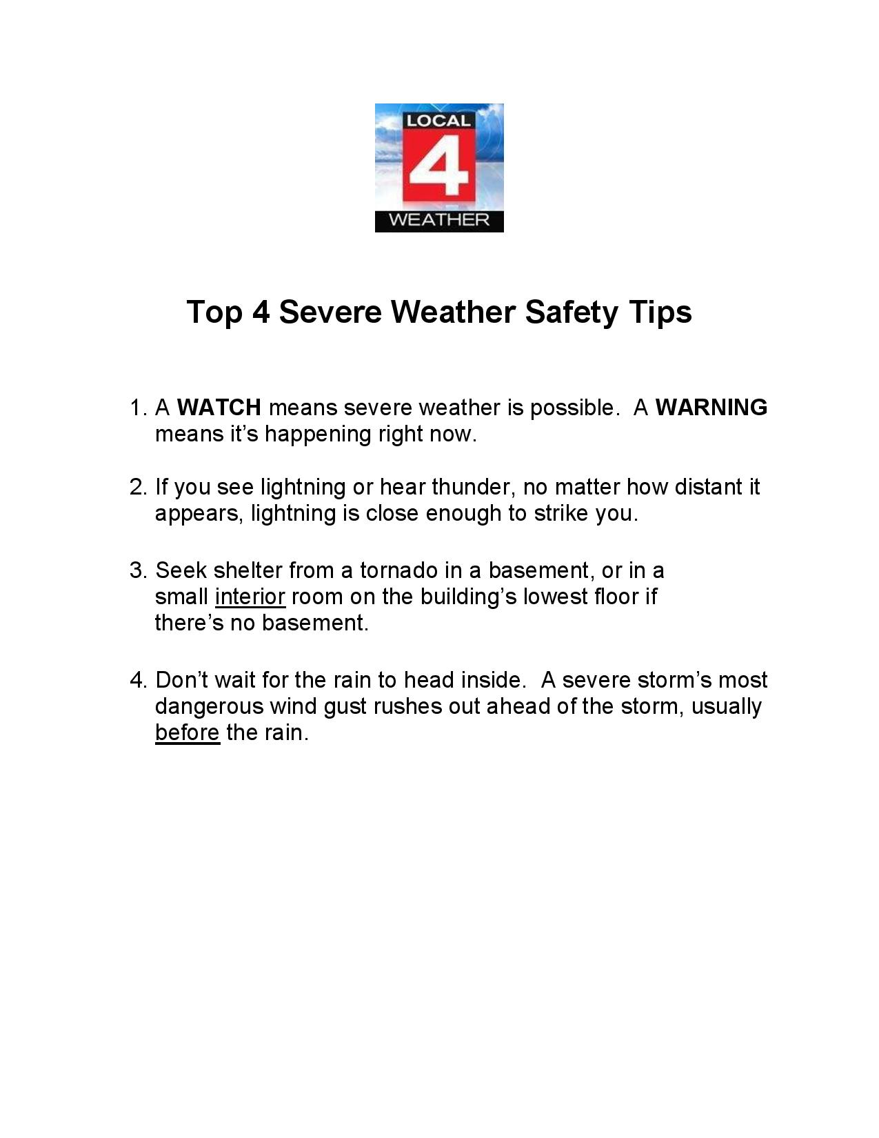 Top 4 Weather Safety Tips