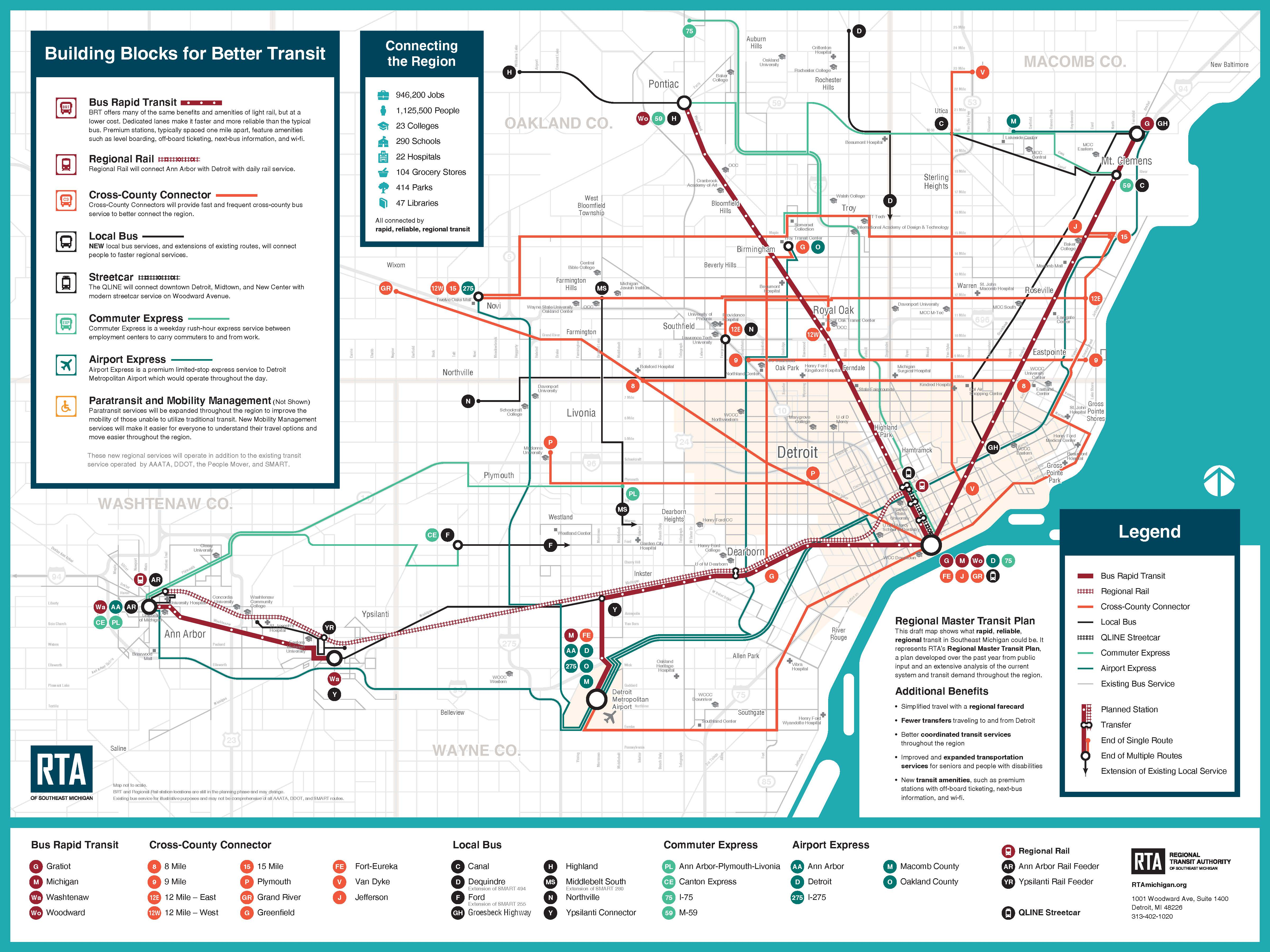 Southeastern Michigan Map.Rta Board To Vote On Master Transit Plan For Southeastern