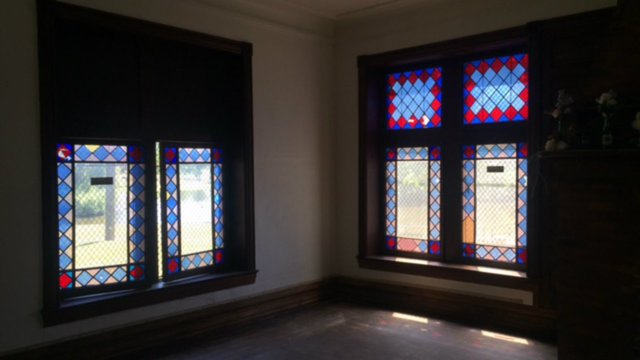 Detroit log cabin stained glass windows