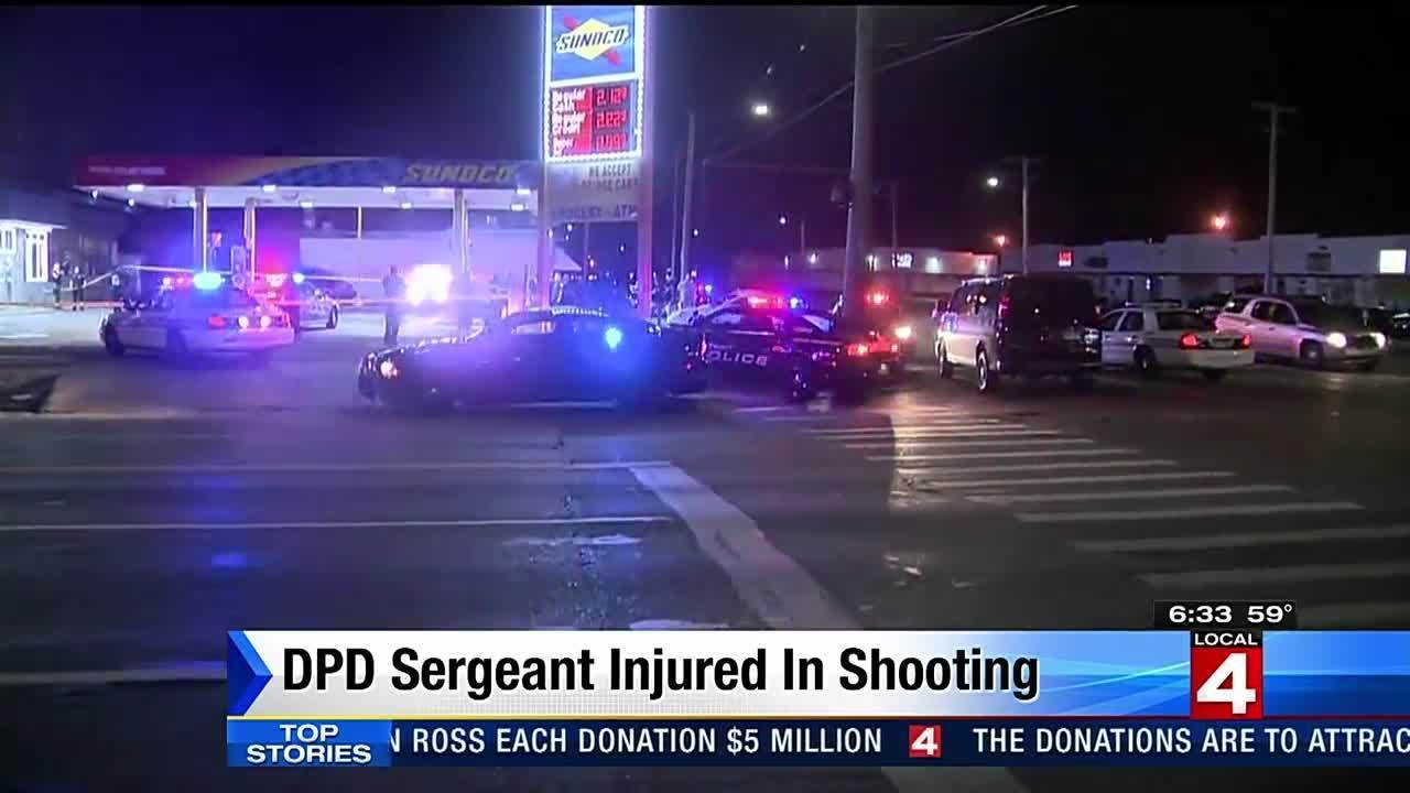 Detroit police sergeant shot at gas station on city 39 s east for Motor city pawn shop on 8 mile and hayes