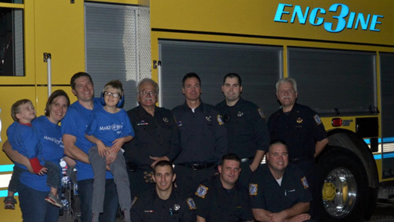 Troy fire department helps fulfill wish for boy with rare for Wong s garden troy mi