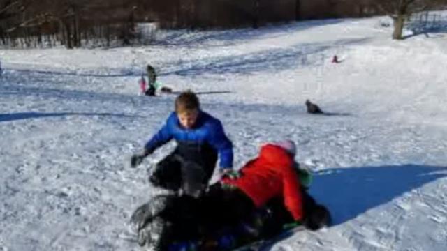Kids at sledding hill rod meloni