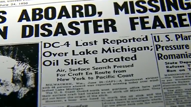 1950 : Airplane Disappears Over Lake Michigan