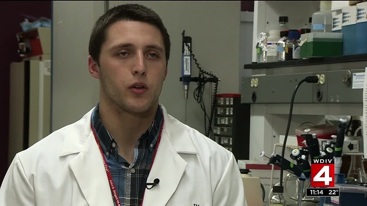 Dr Zenner inside lions running back zach zenner s in a lab coat