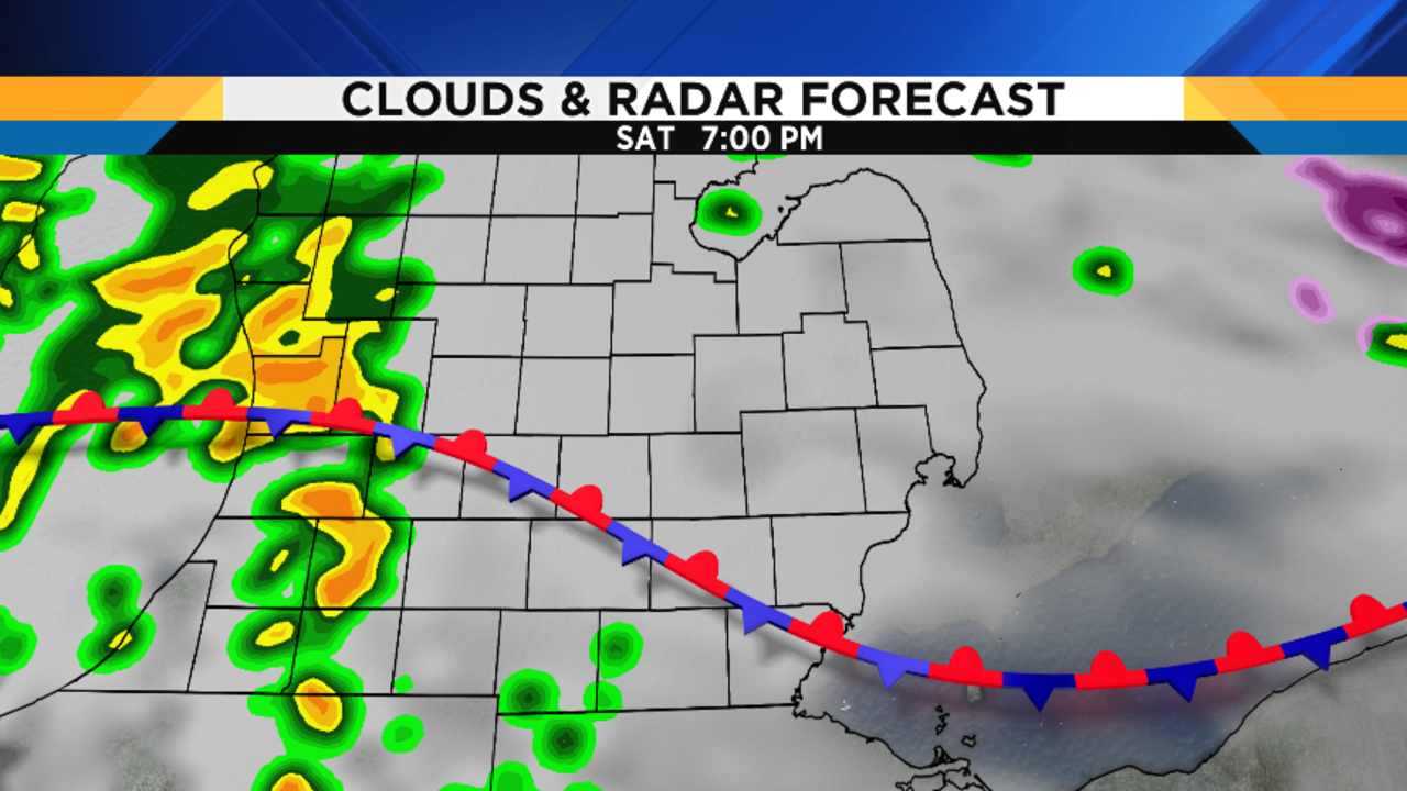 first of all shower chances will increase friday evening as the frontwhich moved north of the thumb during the day starts sagging back to thesouth. metro detroit weather forecast what a day