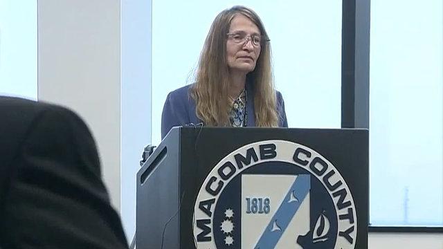 Karen Spranger Macomb County Clerk podium