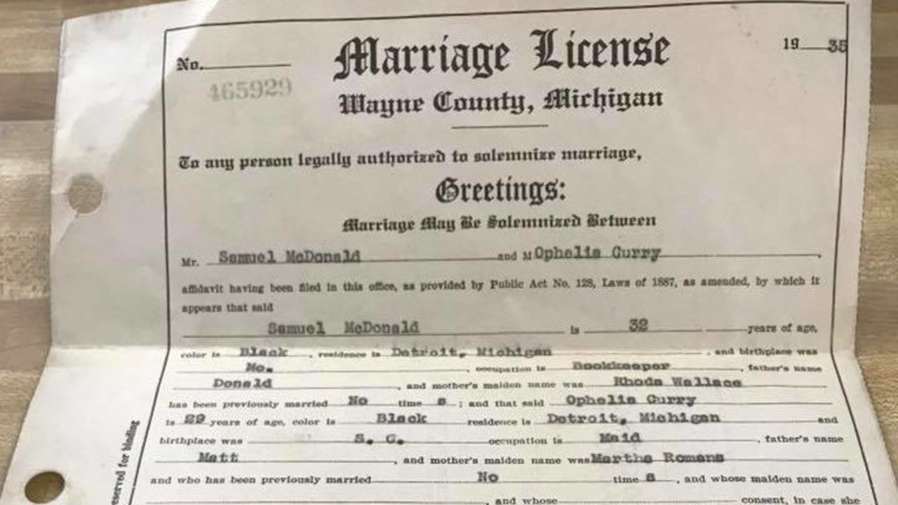 Woman Hopes To Find Family Of Lost Michigan Marriage License