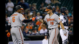 Orioles' Davis homers twice in extra innings, Tigers loses in 13
