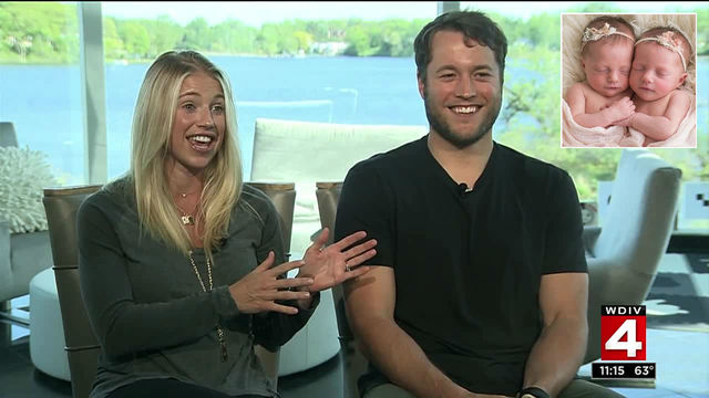 Kelly and Matthew Stafford talk about life with twin daughters in 2017