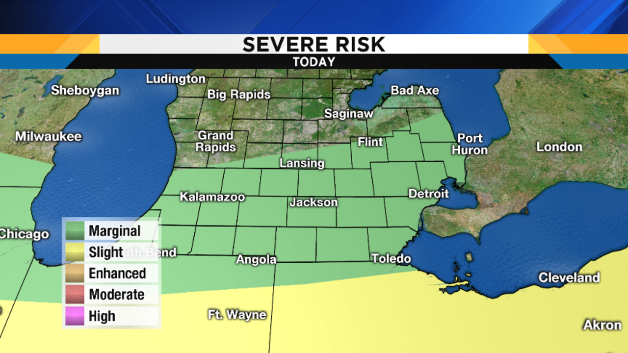 Marginal risk for severe weather thursday afternoon in se for Michigan fishing license cost 2017