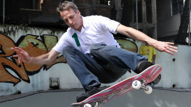 Tony Hawk goes skateboarding in Detroit