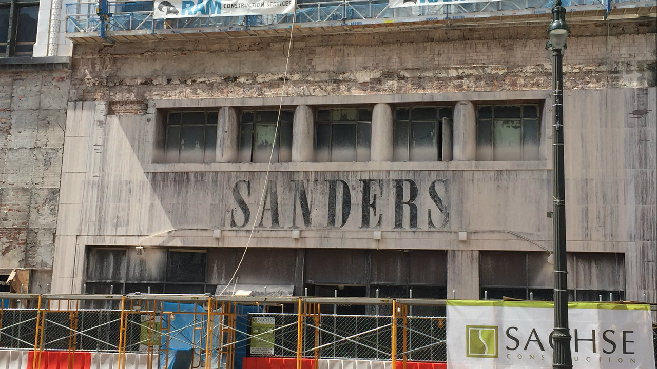 Fort Wayne Mall >> Crews uncover historic Sanders candy sign on Downtown ...