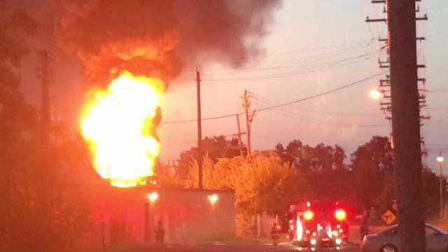 DTE Energy substation Plymouth flames