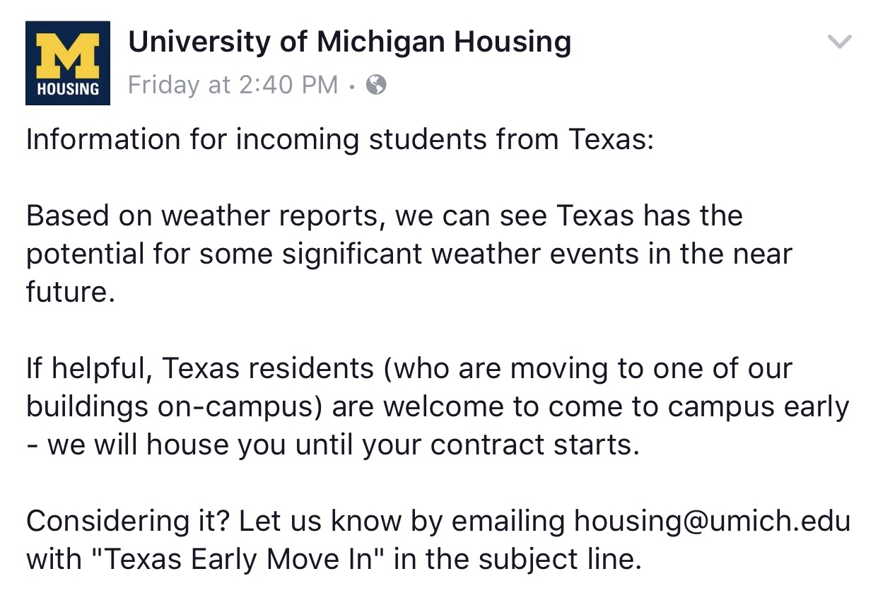 University Of Michigan Opens Doors Early For Texas Students