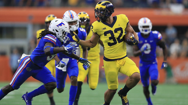 Ty Isaac Michigan football vs Florida stiff arm 2017
