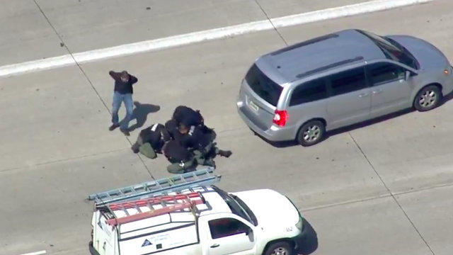Police chase suspect tackle on highway