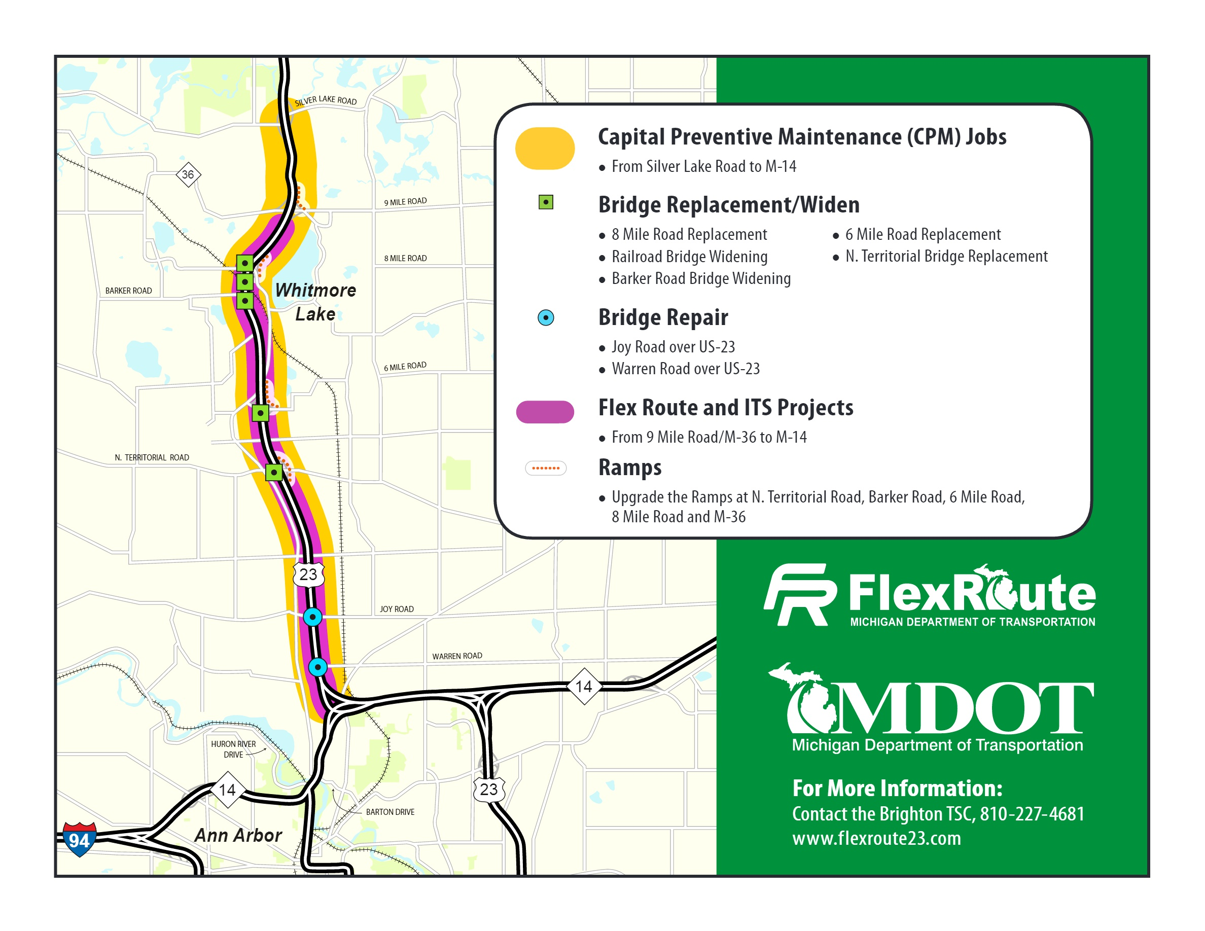 MDOT To Launch Flex Route On US To Ease Rush Hour Traffic - Us 23 map