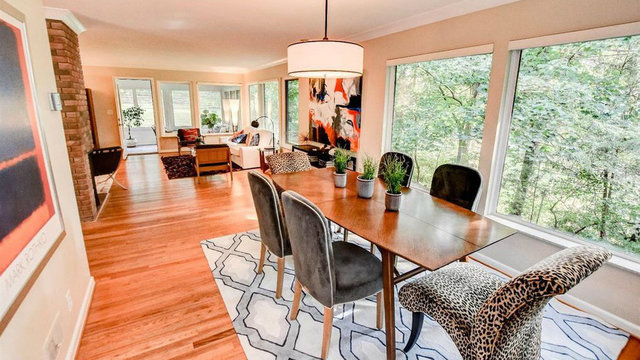 Mid-century modern home in Ann Arbor Hills with stunning forest views for sale