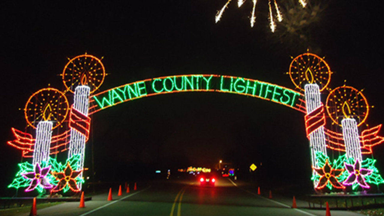 Wayne County Lightfest closed Monday due to flooding on Hines Drive