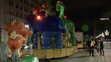 Thanksgiving Parade floats line Woodward Avenue