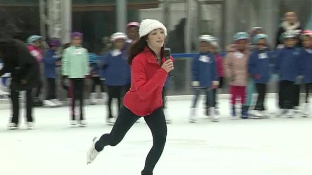 Olympic gold medalist Meryl Davis helps teach girls how to figure skate&hellip&#x3b;
