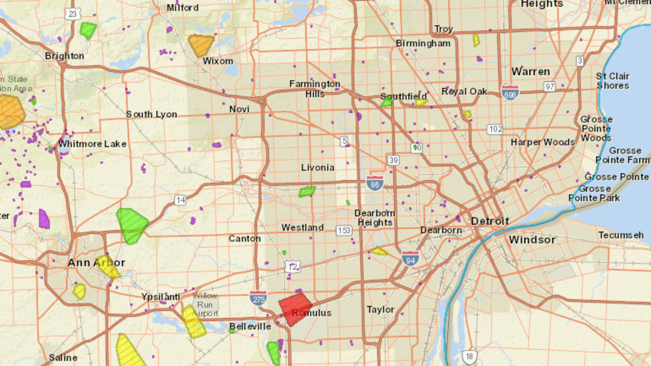 Dte Map Interstate Weather Maps Travel Dte Outage Map Mobile on
