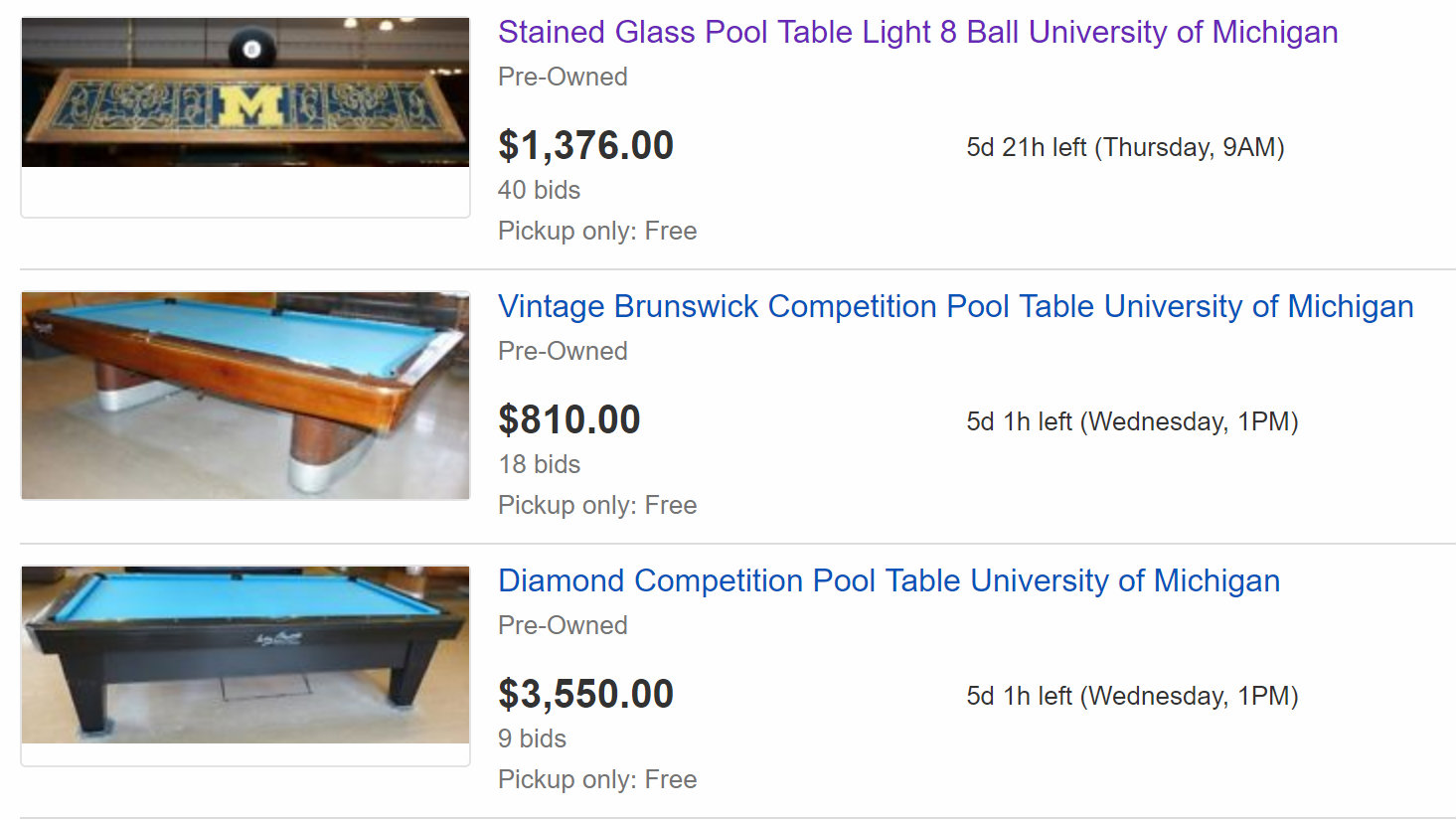 University Of Michigan Auctions Off Historic Billiard Items - Brunswick diamond pool table