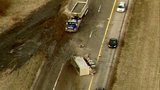 Eastbound M-14 cleared at Gotfredson Road after truck rolls over