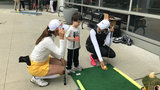 LPGA players play mini golf with patients at C.S. Mott Children's Hospital