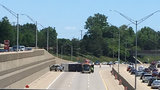 Westbound I-696 reopens at Southfield Road after camper rolls over