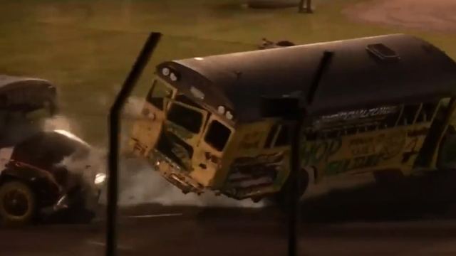 WATCH: School buses, boats hit the racetrack at Flat Rock Speedway's…