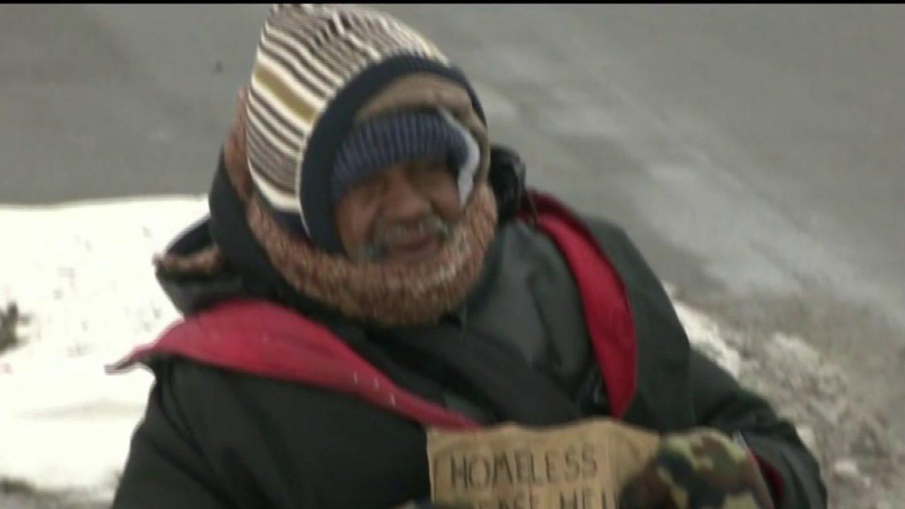 how to describe a homeless man