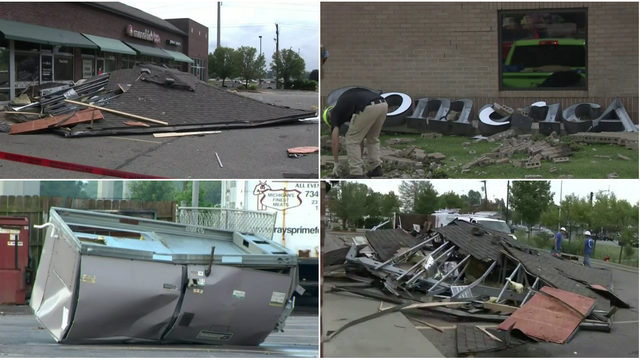 Strip mall roof ripped off, Comerica Bank sign pulled down by severe…