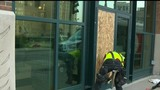 Windows, door smashed Monday morning at Comerica Park in Detroit