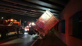 Semi truck strikes westbound I-94 overpass at Warren Avenue in Detroit