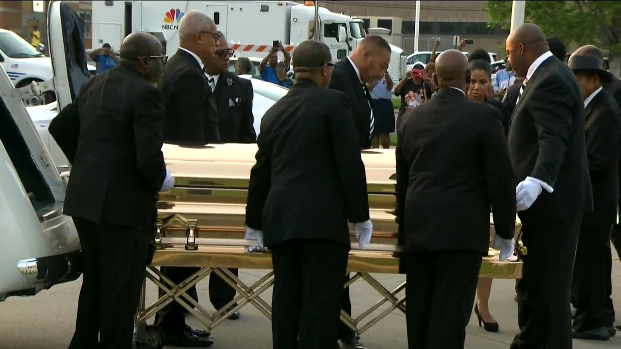 Image result for Aretha Franklin's casket arrives for visitation in Detroit