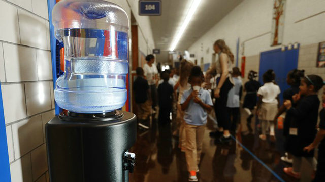 Water coolers replace drinking fountains in Detroit public schools