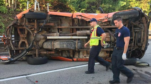 2 road workers injured when vehicle strikes truck on M-5 near Drake Road